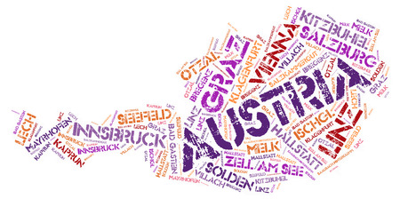 linz: Austria Map silhouette word cloud with most popular travel destinations