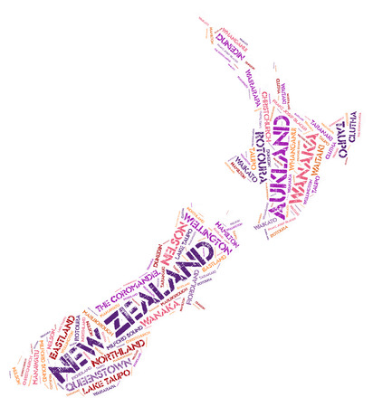 marlborough: New Zealand map silhouette word cloud with most popular travel destinations