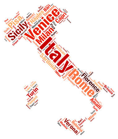 popular: Italy map silhouette word cloud with most popular travel destinations