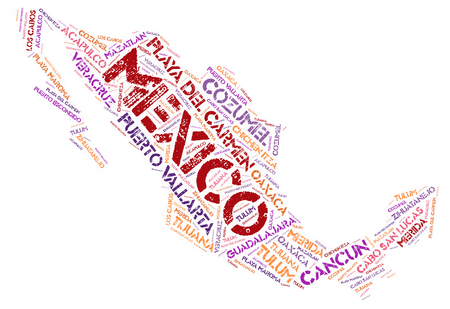 Mexico map silhouette word cloud with most popular travel destinations