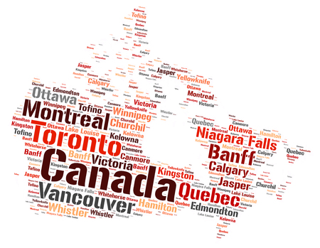 lake winnipeg: Canada Map silhouette word cloud with most popular travel destinations Stock Photo