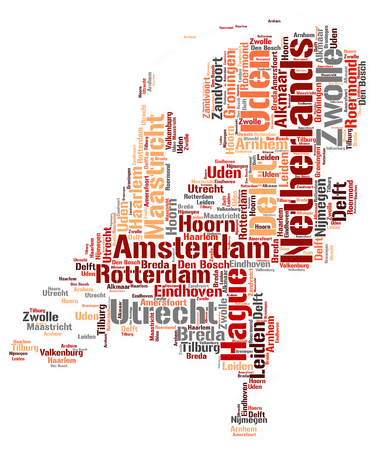 Netherlands map silhouette word cloud with most popular travel destinations Stock Photo