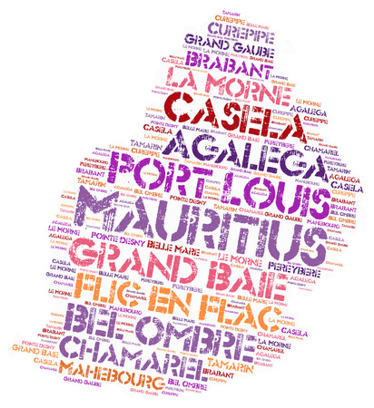 le: Mauritius map silhouette word cloud with most popular travel destinations