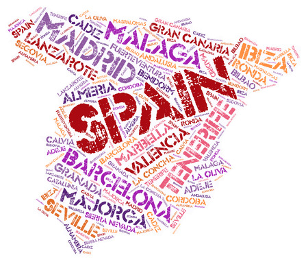 oliva: Spain map silhouette word cloud with most popular travel destinations