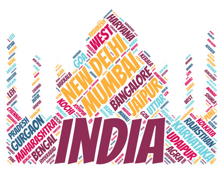 Taj Mahal silhouette word cloud with Indias most popular travel destinations Stock Photo
