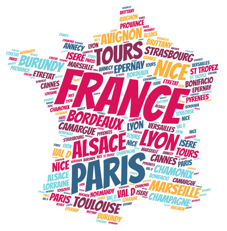 tropez: France map silhouette word cloud with most popular travel destinations Stock Photo