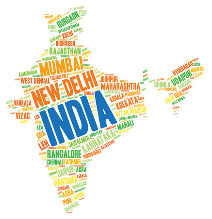 amritsar: India map silhouette word cloud with most popular travel destinations Stock Photo