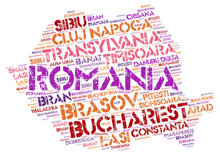 Romania map silhouette word cloud with most popular travel destinations Stock Photo