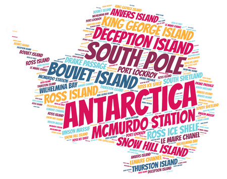 wilhelmina: Antarctica Map silhouette word cloud with most popular travel destinations Stock Photo