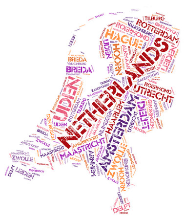 the hague: Netherlands map silhouette word cloud with most popular travel destinations Stock Photo