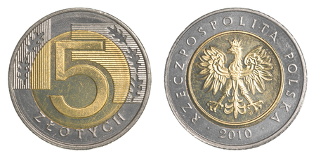 zloty: five Polish Zloty coin isolated on white background