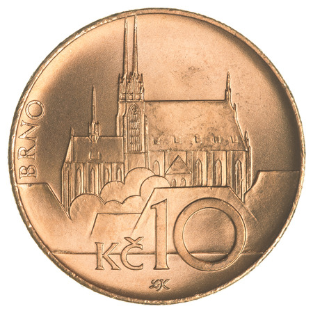 koruna: Ten Czech koruna coin isolated on white background