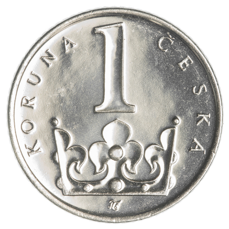 koruna: One Czech koruna coin isolated on white background
