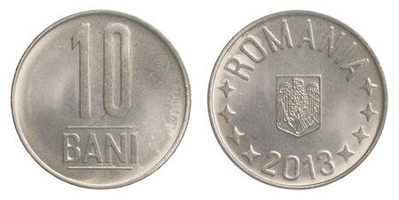 leu: ten Romanian Bani coin isolated on white background