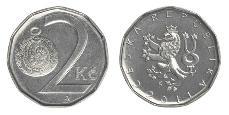 koruna: Two Czech koruna coin isolated on white background