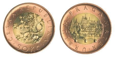 koruna: Fifty Czech koruna coin isolated on white background