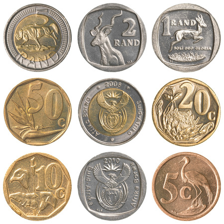 south african rands coins collection set isolated on white background Stok Fotoğraf