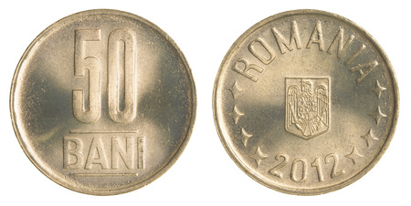 bani: fifty Romanian Bani coin isolated on white background