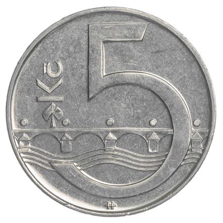 koruna: Five Czech koruna coin isolated on white background