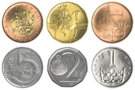 koruna: Czech koruna coins collection set isolated on white background Stock Photo