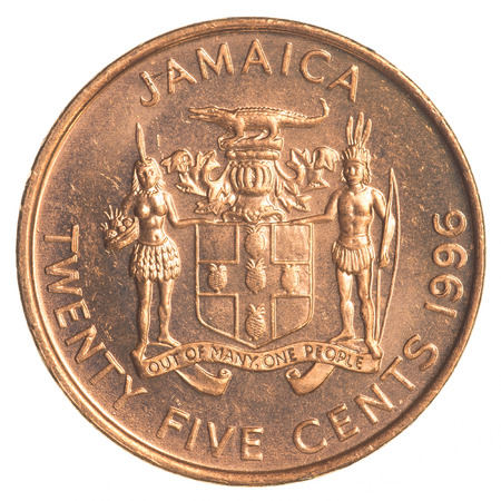 25 cents: twenty five jamaican cent coin isolated on white background Stock Photo