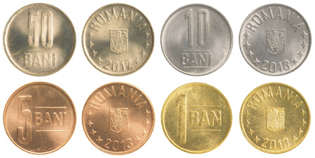 bani: Romanian Bani coins collection set isolated on white background Stock Photo