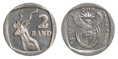Two south african rand coin isolated on white background