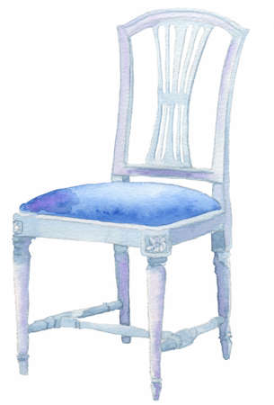 Blue old chair painted with watercolour