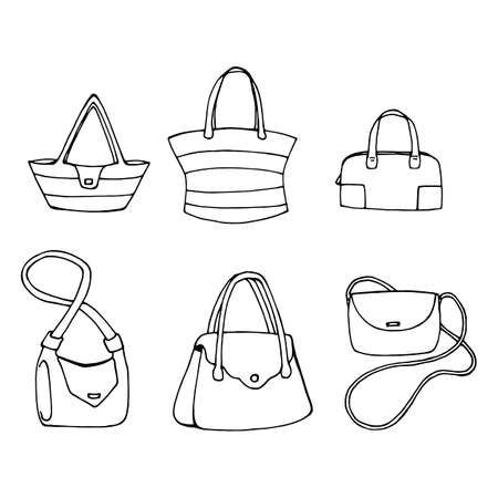 Set of six women's bags on white background. Various handbags isolated on white