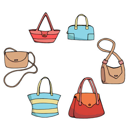 Set of six multi-colored women's bags on white background. Various handbags isolated on white 向量圖像