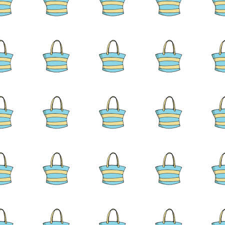 Seamless background of womens blue bags on white background. Isolated handbags isolated on white