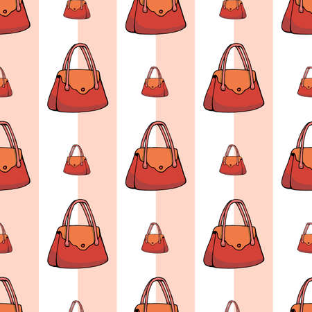 Seamless background of womens red bags. Isolated handbags isolated on white