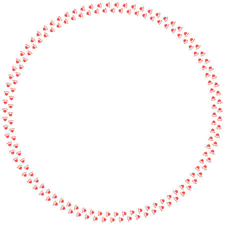 Round frame of red cat tracks. Isolated frame on white background for your design. Vecteurs