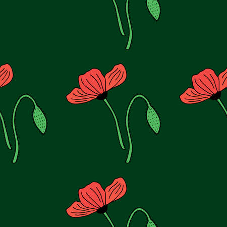Seamless background with red poppies on dark green background. Endless pattern with flowers for your design.