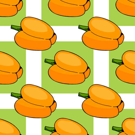 Seamless pattern of orange peppers and light green squares. Endless background for your design.