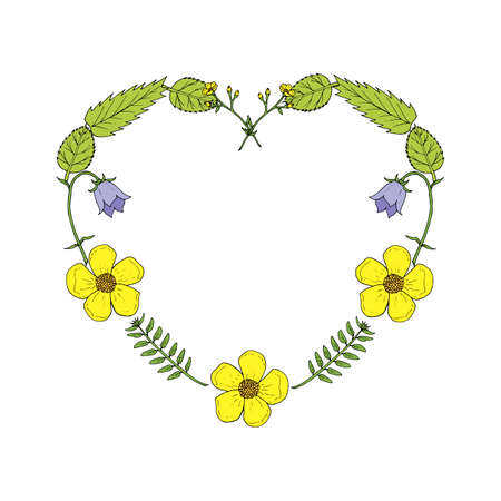 Heart made of buttercup flowers, bell flowers and herbs.