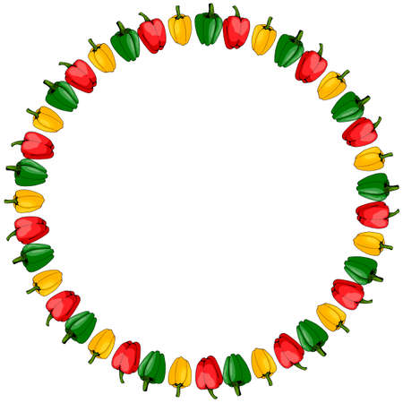 Round frame of red, yellow and green peppers on white background. Isolated frame for your design.