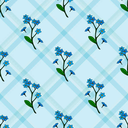 Seamless pattern with forget-me-nots on blue checkered background. Endless pattern with flowers for your design. Stock Illustratie