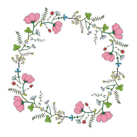Round frame made of cosmos, clover, chamomile, carnation, poppy buds and different herbs. Romantic floral wreath on white background. Festive floral circle for your design - 2 矢量图像