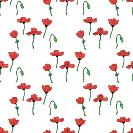 Seamless background with poppies and poppy bud. Endless pattern on white background for your design. Vector.