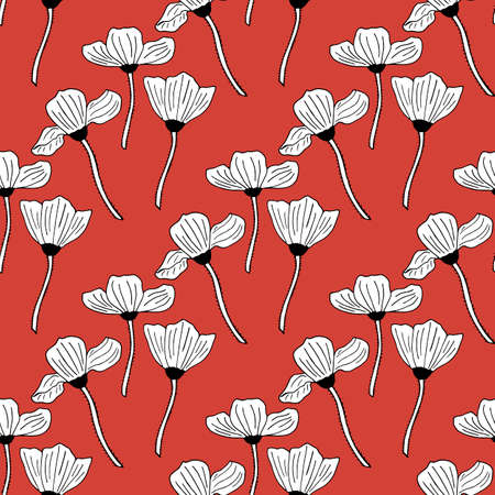 Seamless background with black-and-white poppies on red background. Endless pattern with flowers for your design. Vector.