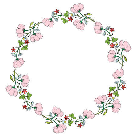 Round frame made of cosmos, clover, chamomile, carnation and poppy buds. Romantic floral wreath on white background. Festive floral circle for your design - 1