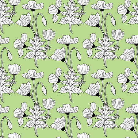 Seamless background with black-and-white poppies on light green background. Endless pattern with flowers for your design. Vector.