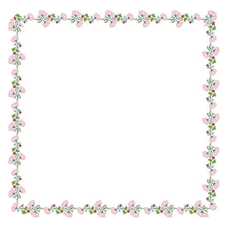 Square frame made of cosmos, clover, chamomile, carnation and poppy buds. Romantic floral square on white background for your design. 矢量图像