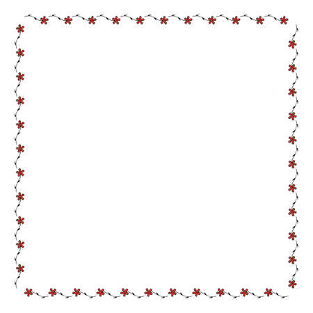 Square frame with horizontal carnation on white background. Isolated floral frame for your design. Vector image. 矢量图像