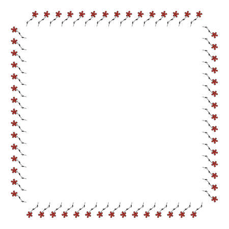 Square frame with vertical carnation on white background. Isolated floral frame for your design. Vector image.