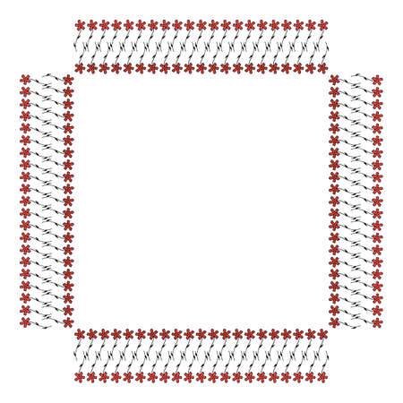 Square frame with cozy vertical carnation on white background. Isolated floral frame for your design. Vector image. 矢量图像
