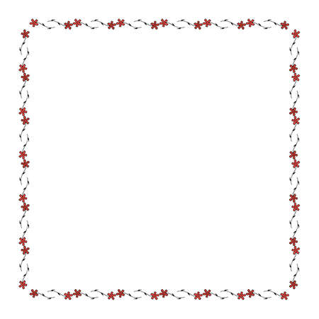 Square frame with cozy horizontal carnation on white background. Isolated floral frame for your design. Vector image.