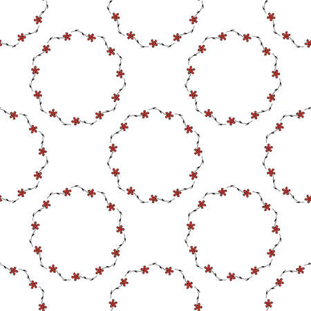 Seamless pattern with horizontal carnation on white background. Vector image.