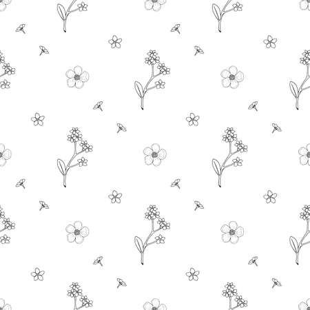 Seamless pattern with black-and white flowers forget-me-not and buttercup for fabric, textile, clothes, tablecloth and other things. Vector image.